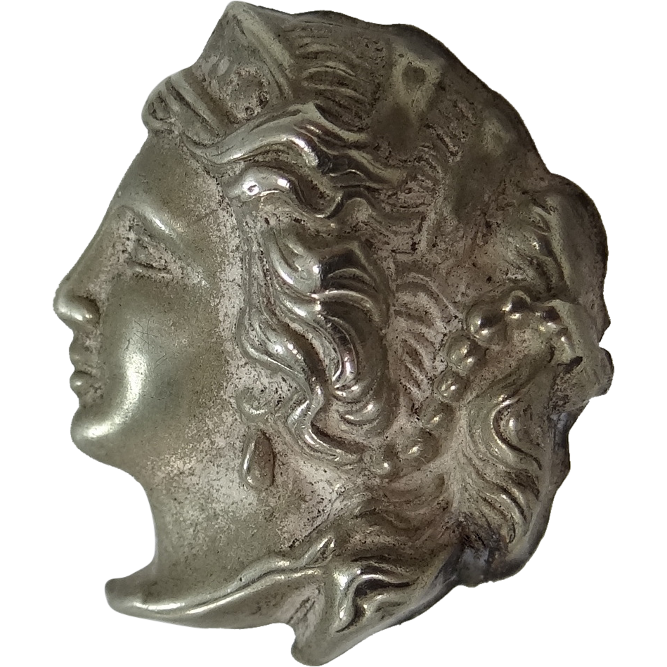 Victorian Goddess Hera Sterling Silver Clothing Button