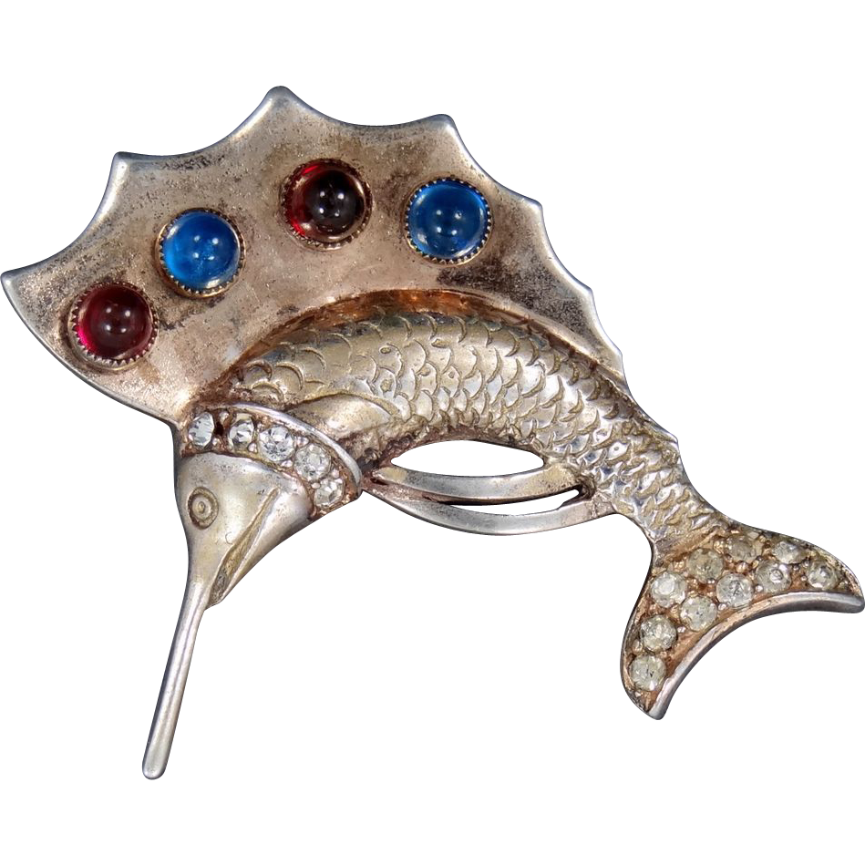 "Detailed Sterling Vermeil ""Jeweled"" Swordfish Brooch"