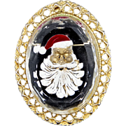 Nice Intaglio Glass Santa Claus Pin Christmas Time!!!