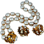 1950s Signed Miriam Haskell 10mm Faux Pearls Necklace & Earrings