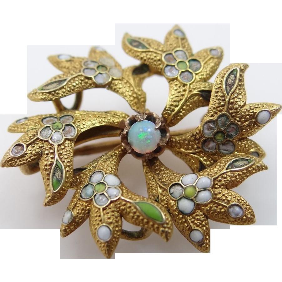 Victorian 14k Gold Opal & Enamel Pin / Pendant