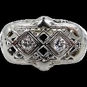 18k White Gold & Diamond Filigree Size 6 1/2 Ring Circa 1920's