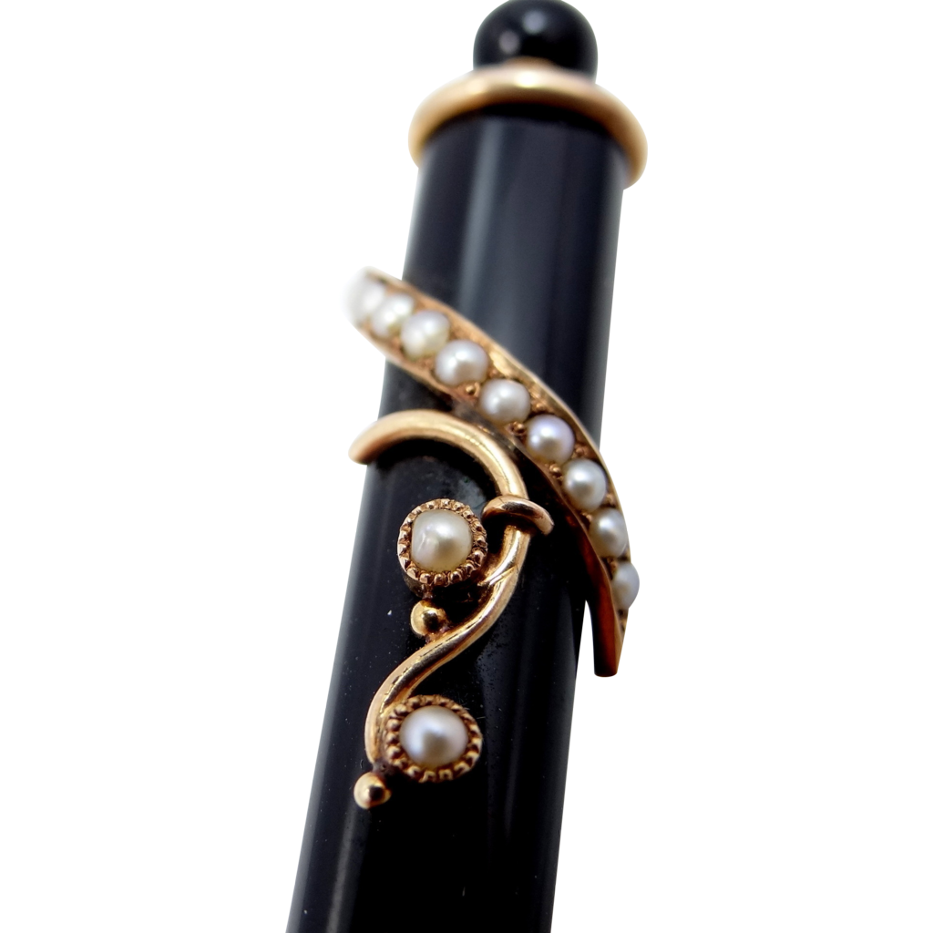 14k Gold Seed Pearls Mourning Bar Pin