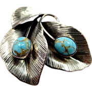 Danecraft Sterling Silver Faux Turquoise & Leaves Pin