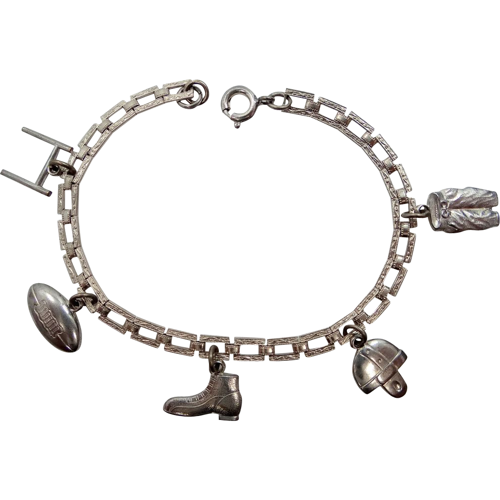 1920's Rhodium Plated Football Themed Charm Bracelet