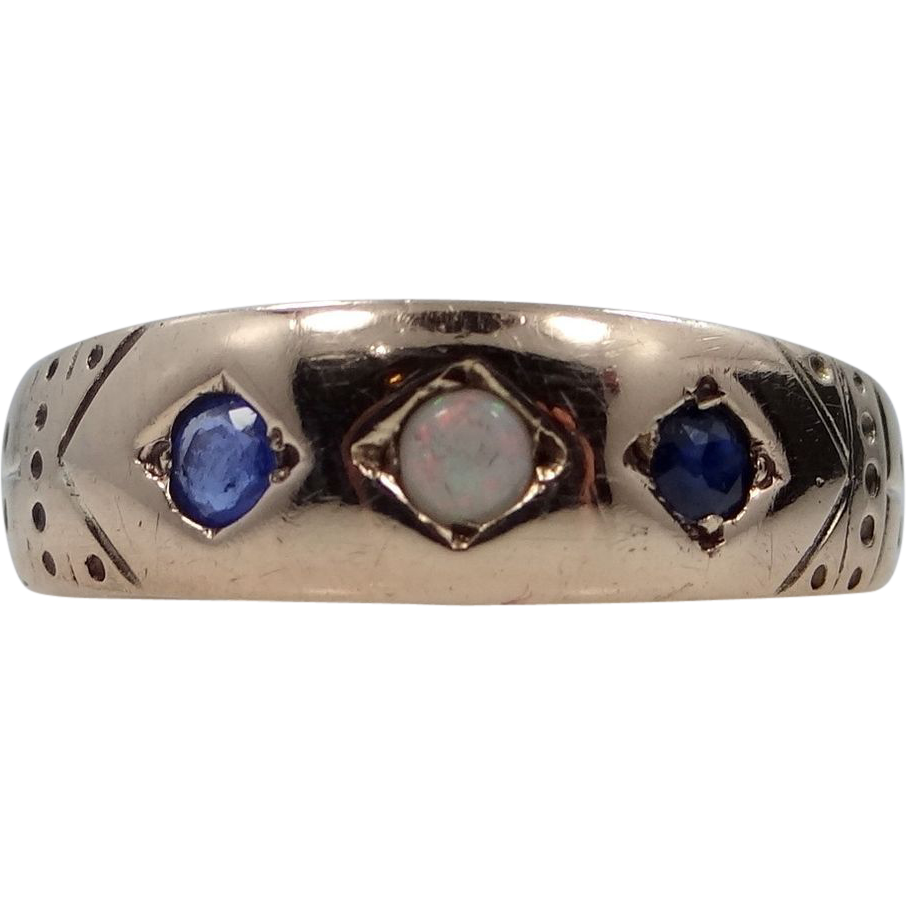 1890s Gold Sapphires & Opal Victorian Size 6 3/4 Ring