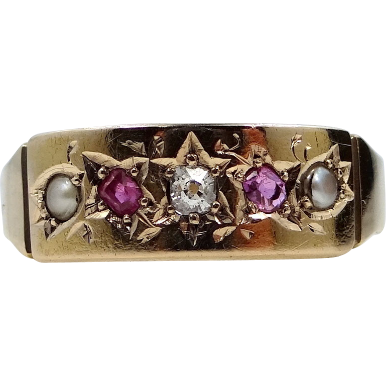 1890s 15k Gold Birmingham Diamond, Rubies & Pearls Ring