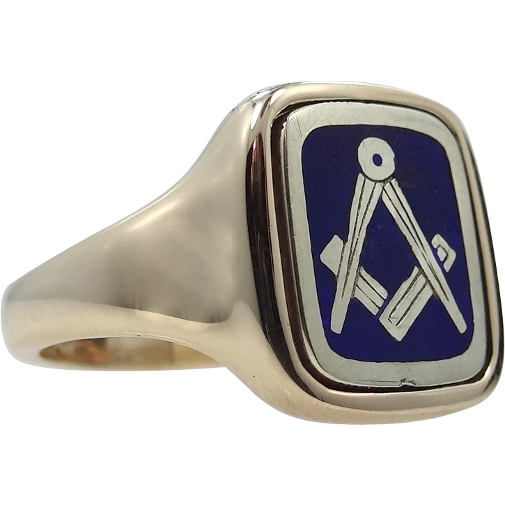 9k Gold & Enamel Masonic FLIP Ring Size 8
