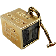 """14k Gold """"Mad Money"""" Charm with Real $ Bill & Hammer"""
