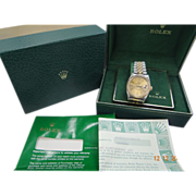 Rolex Mens 18k/SS Datejust w/ Champagne Dial 16233 With Boxes