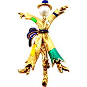 18k Solid Gold Enamel Figural Scarecrow Pin Italy