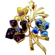 18k Gold Emeralds, Rubies & Topaz Enamel Flower Pin