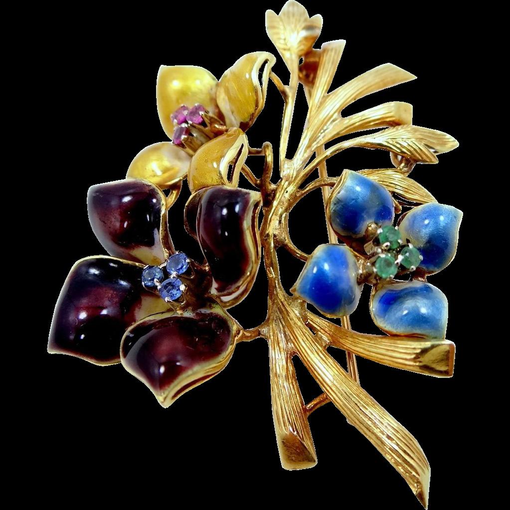 18k Gold Emeralds, Rubies & Topaz Enamel Flower Pin