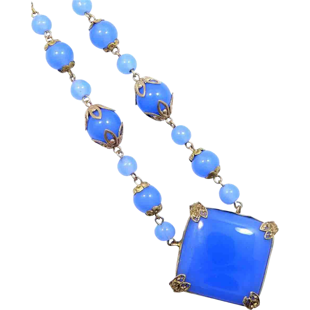 1920's Signed Czechoslovakia Blue Chalcedony Glass Necklace