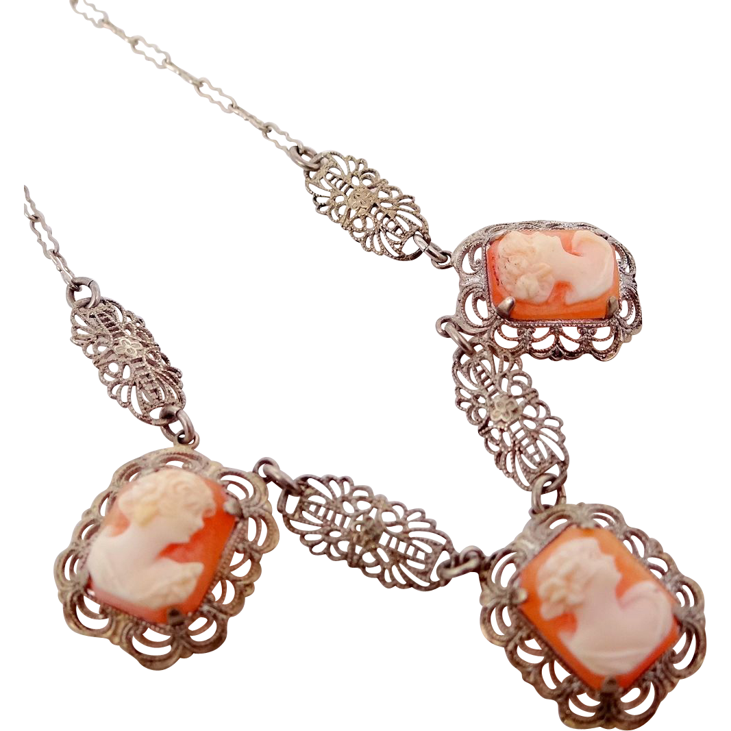 1920's Sterling Silver Filigree 3 Cameo Necklace