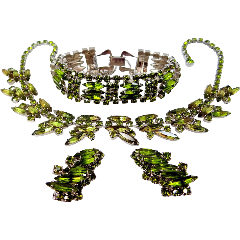 Madeleine Parure Olivine Green Navette & Chatons Bracelet, Necklace & Earrings