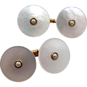 1930's Krementz Seed Pearls & Mother of Pearl Cufflinks Cuff Links