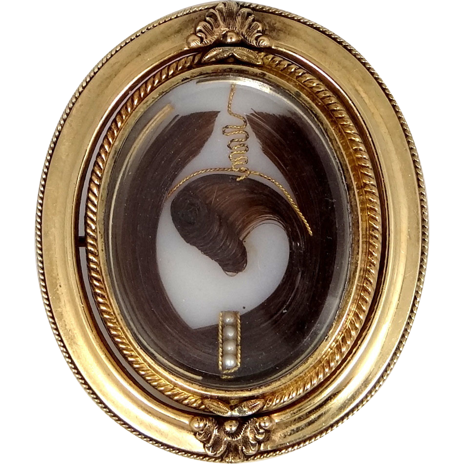 Victorian 14k Gold Prince of Wales Flip Hairwork Mourning Brooch