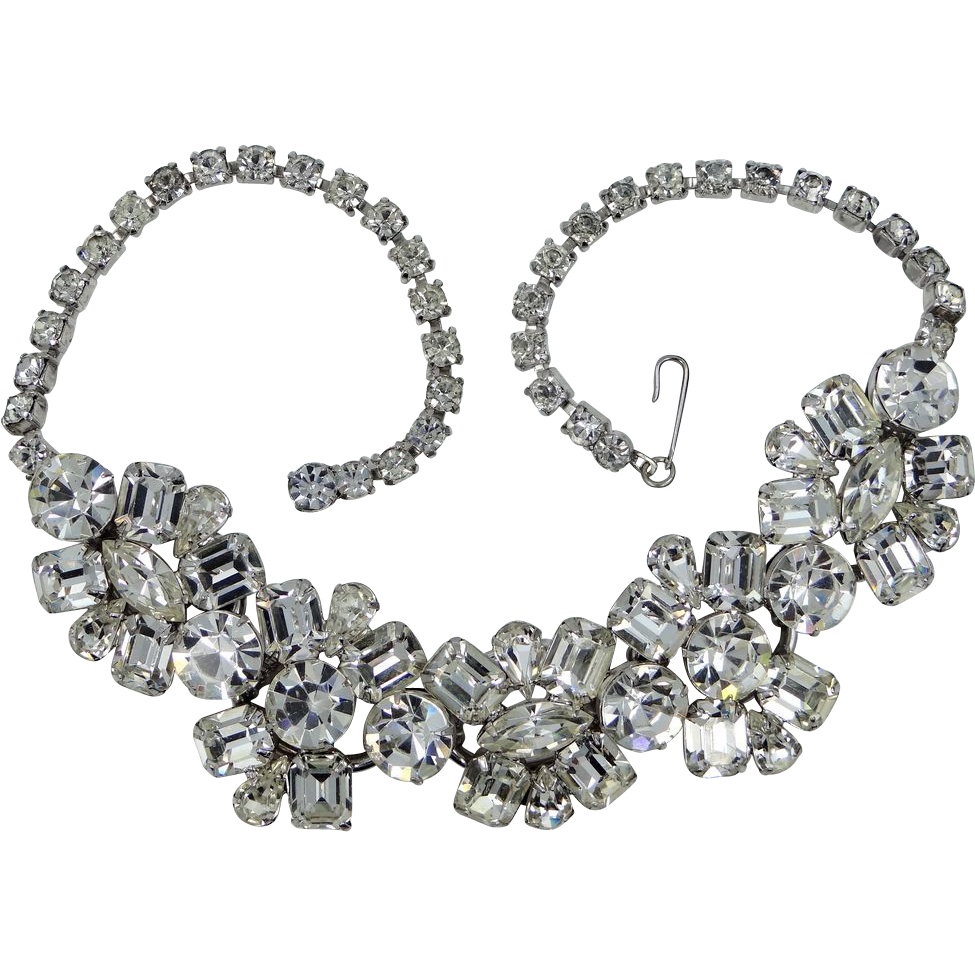 Dazzling Juliana Multi Shaped Rhinestone Necklace 5 Rings!