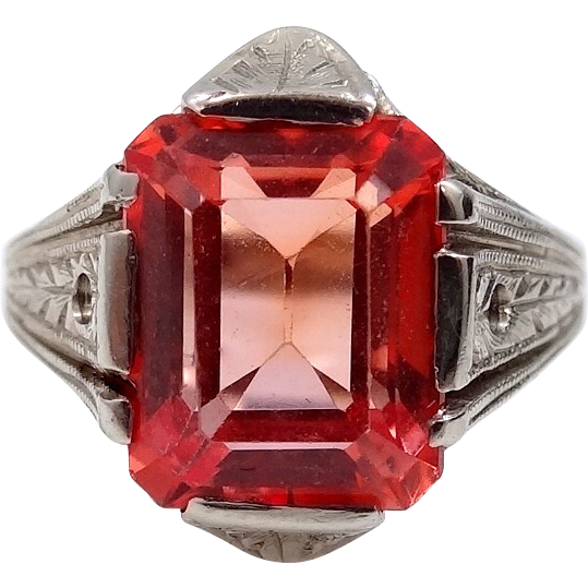14k White Gold Art Deco Synthetic Orange Ruby Ring