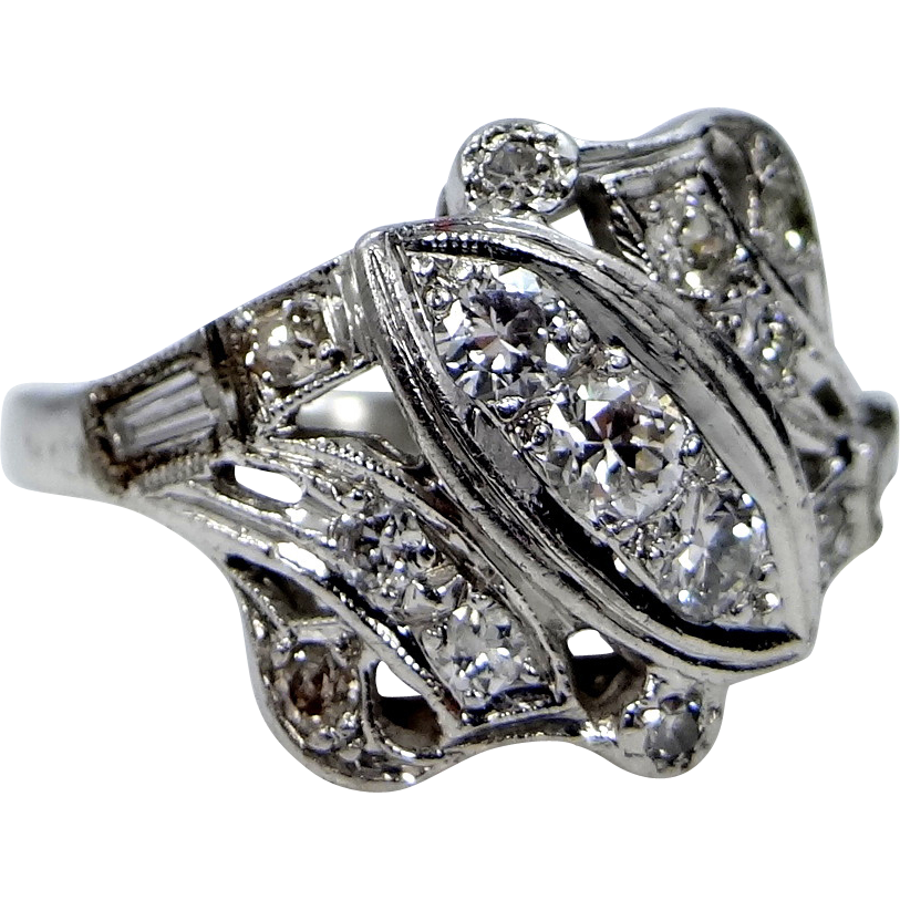 1930's Platinum & Diamonds Size 6 Ladies Ring
