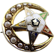 Vintage 10k Gold & Seed Pearls Eastern Star Pin