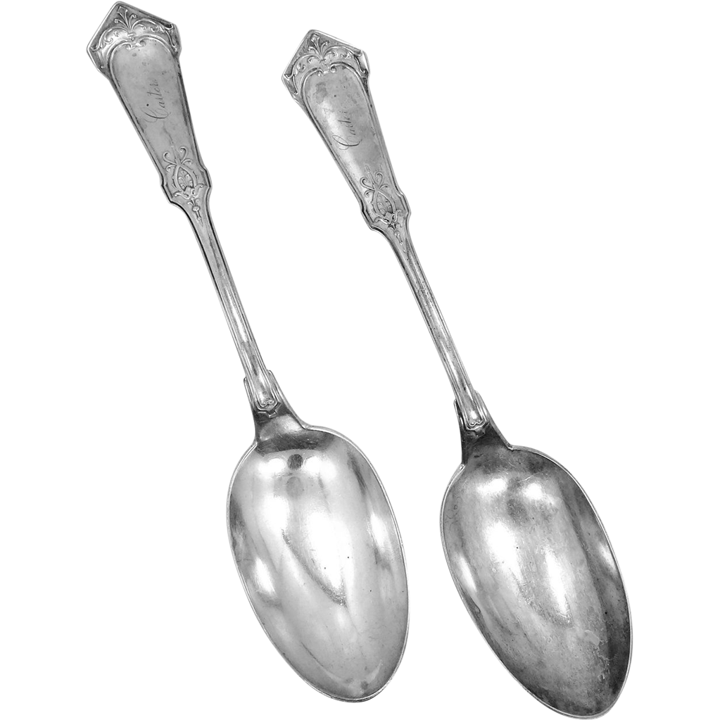 Pair 1880 Sterling Wood & Hughes Serving Spoons Humboldt Pattern