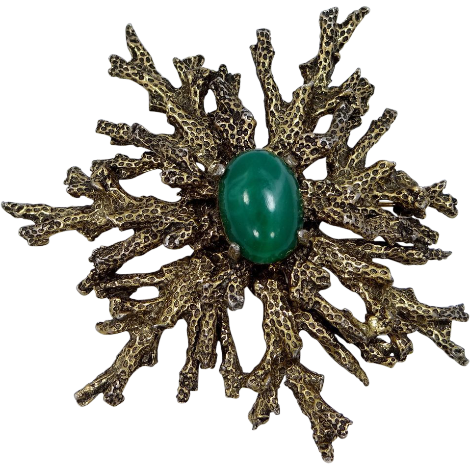 """1950s Zentall Abstract Brooch """"Sea Coral"""" Design"""