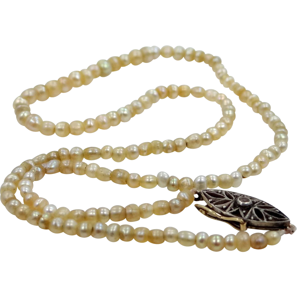Dainty Victorian Seed Pearls Necklace w/Filigree Clasp