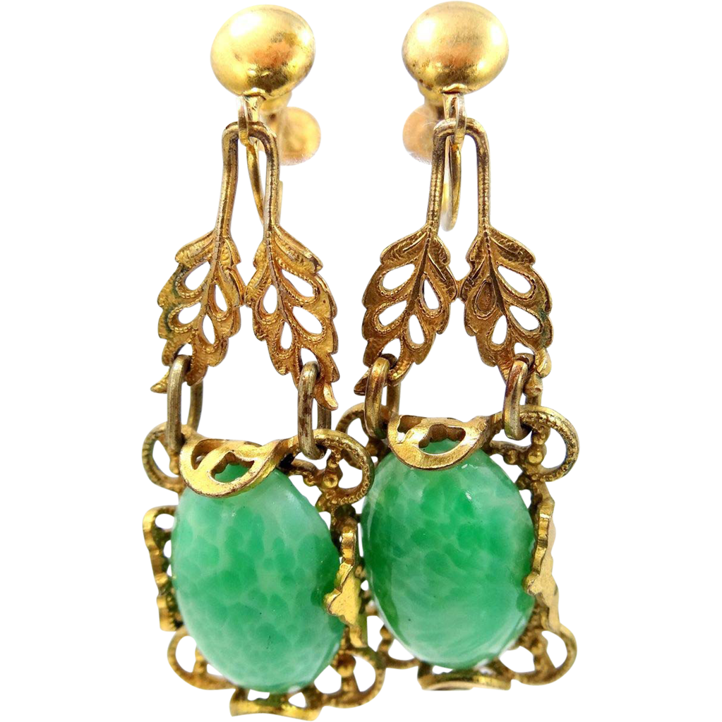 1920's Gilt Brass & Peking Glass Filigree Dangle Earrings