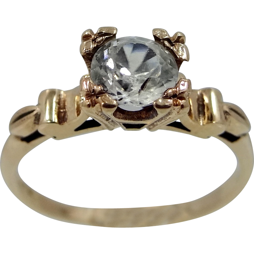 14k Gold & Clear 3/4 Carat Spinel Ladies Ring