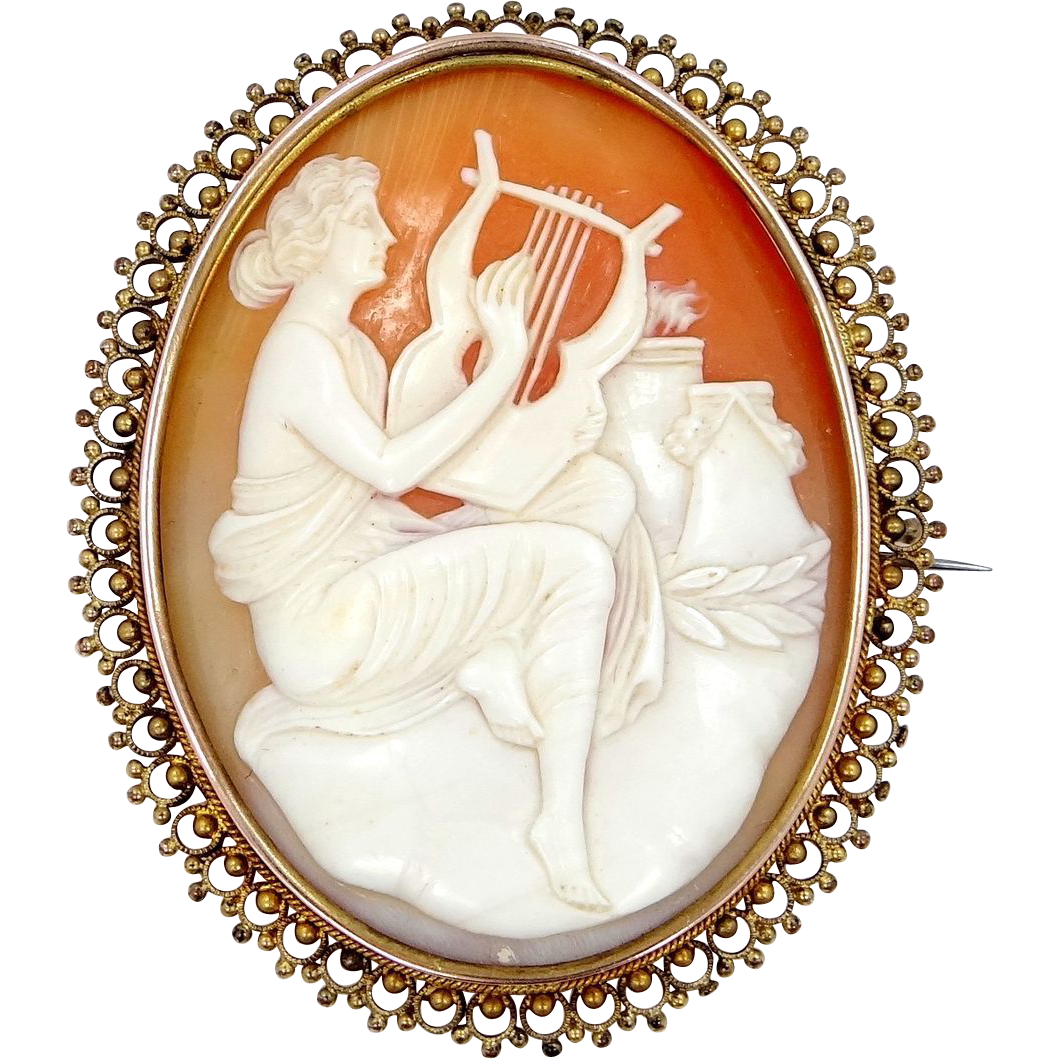 Victorian Sterling Vermeil Cameo Woman Playing Harp