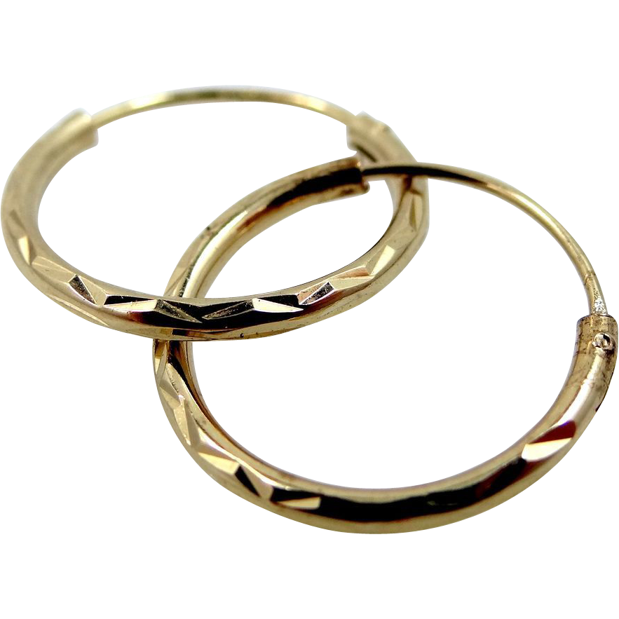 Nice 10k Gold Finely Etched Hoop Earrings