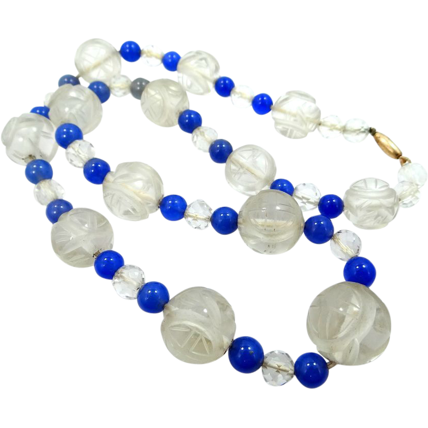 Victorian Carved Chinese Rock Crystal & Purple Jade Necklace