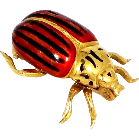 Cute 18k Gold & Enamel Figural Beetle Pin