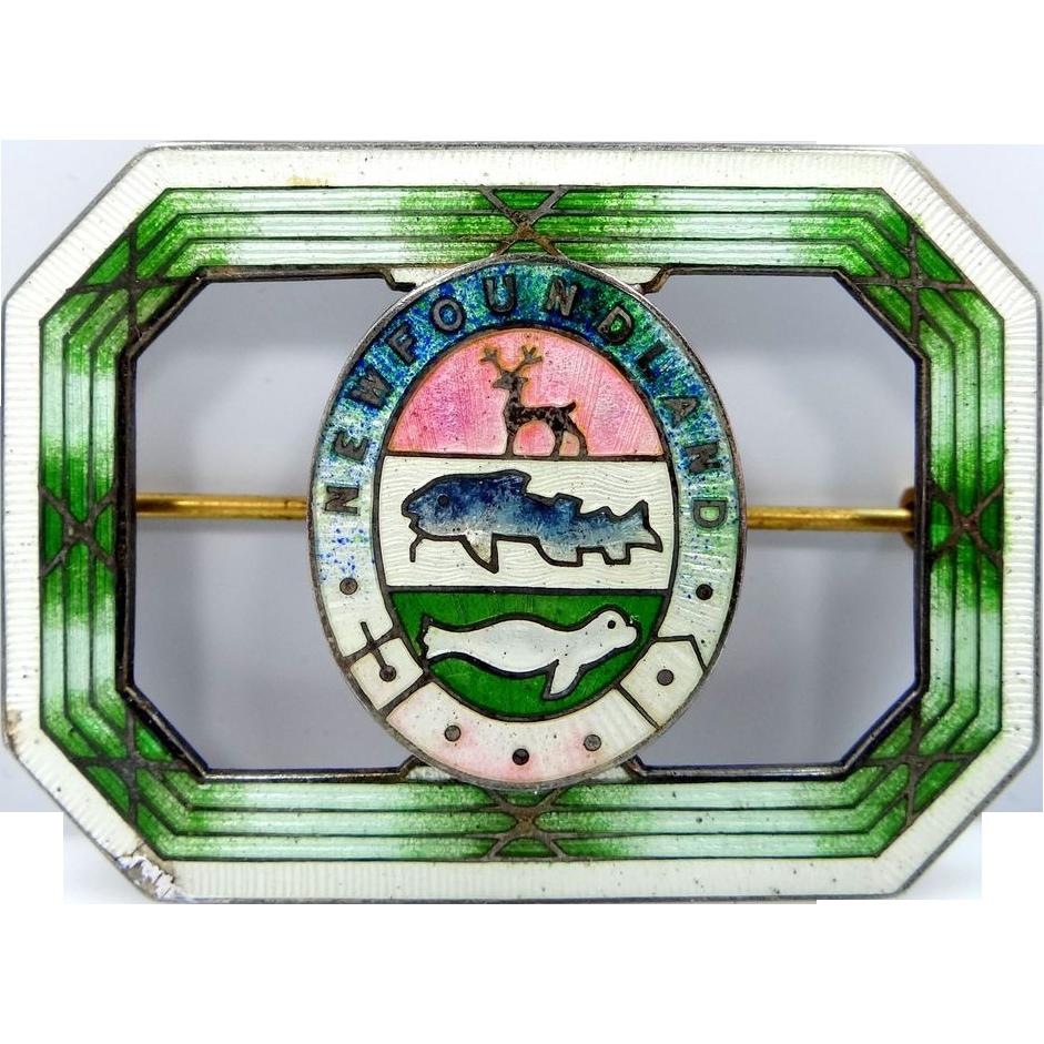 Early 1900s Robert Hemsley Sterling & Enamel Newfoundland Souvenir Pin