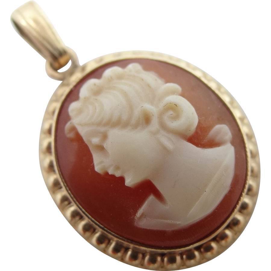 10k Gold Carved Shell Cameo Pendant Retro Era