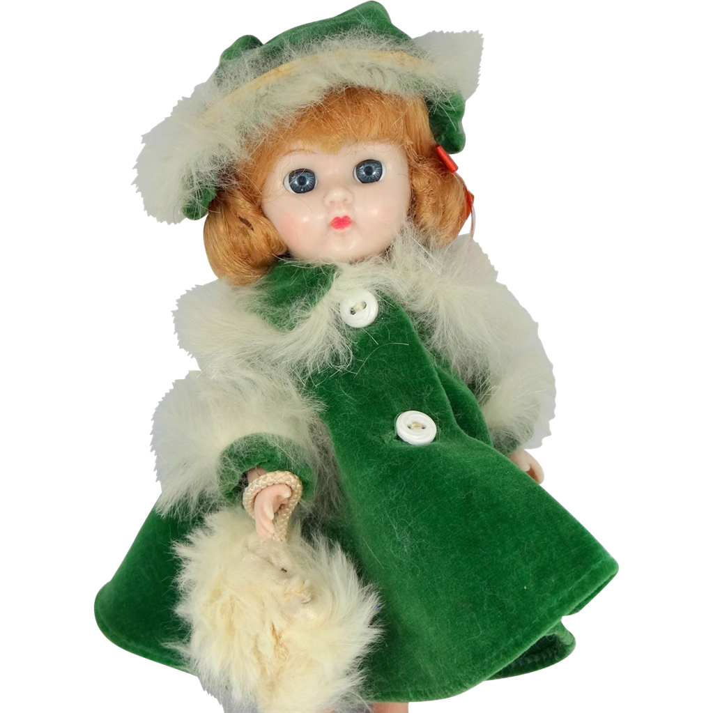 1950s Cosmopolitan Ginger Doll Tagged Green Velvet & Fur Coat, Hat & Muff #960