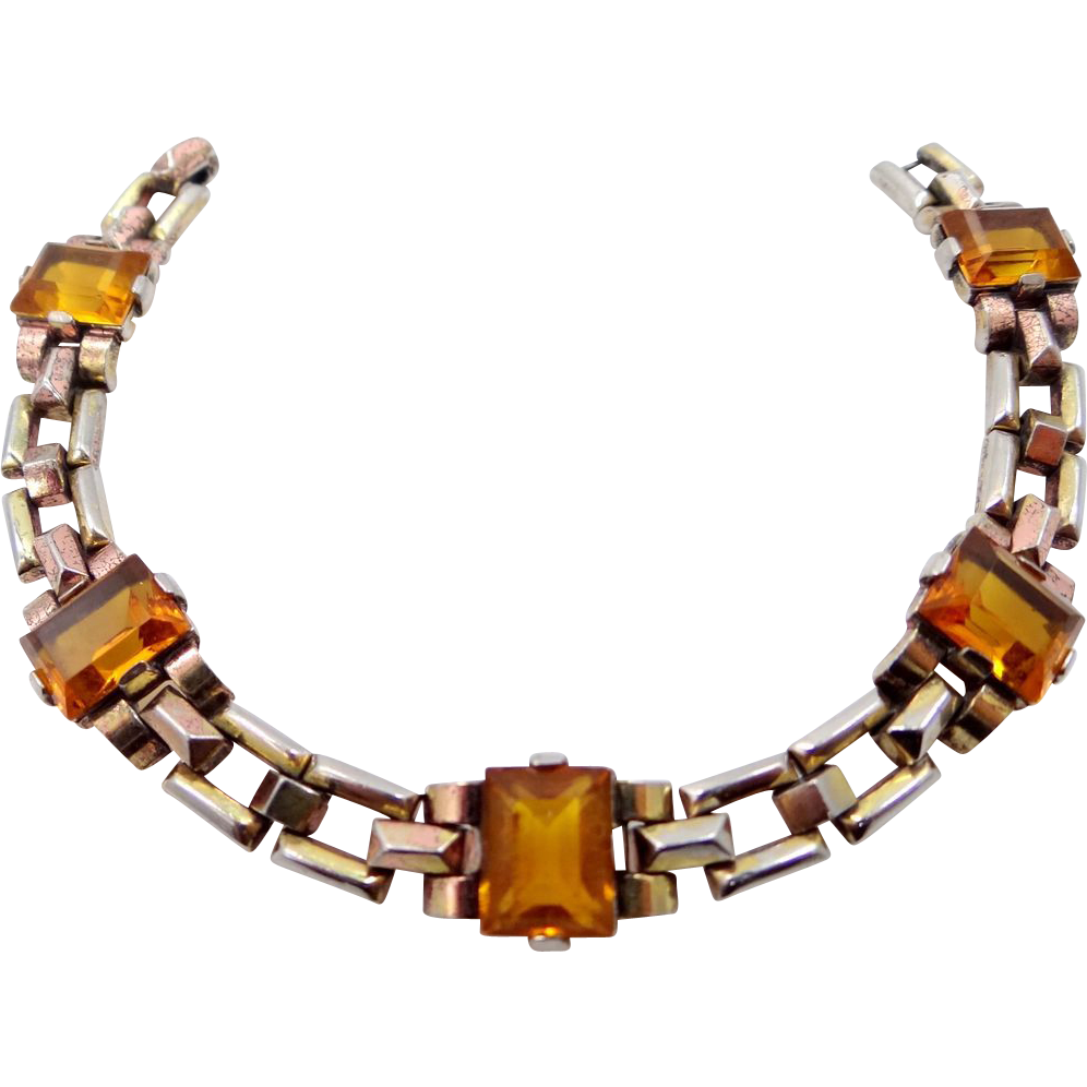 1940s Trifari 'Alfred Philippe' Four Link Topaz Glss Two Colour Gold Plated Tank Bracelet