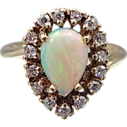 14k Gold Opal & Diamonds Ladies Ring
