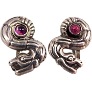 1950s Mexico Silver Gryphon Earrings