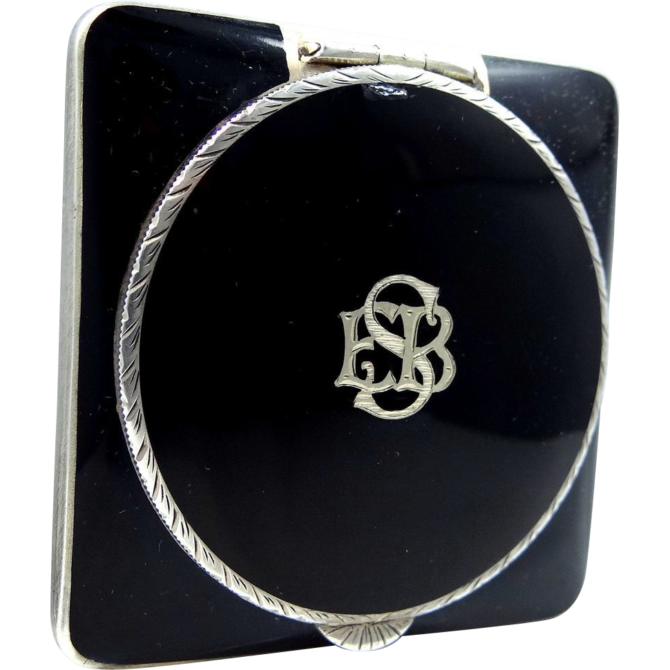 Art Deco Sterling Silver & Black Enamel Compact Made in Austria