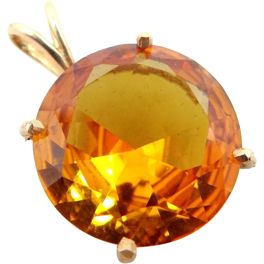 14k Gold Pendant with 14 Carat Golden Topaz Solitaire