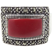 Vintage Sterling Silver, Coral & Marcasites Ladies Size 7 1/2 Ring