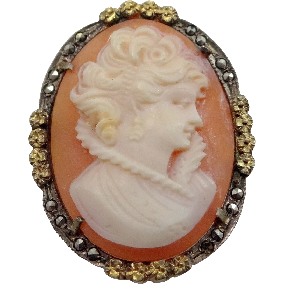 800 Silver Vermeil & Marcasites Cameo Pin / Pendant