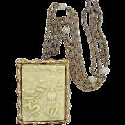 Hattie Carnegie Faux Ivory Pin / Pendant Necklace