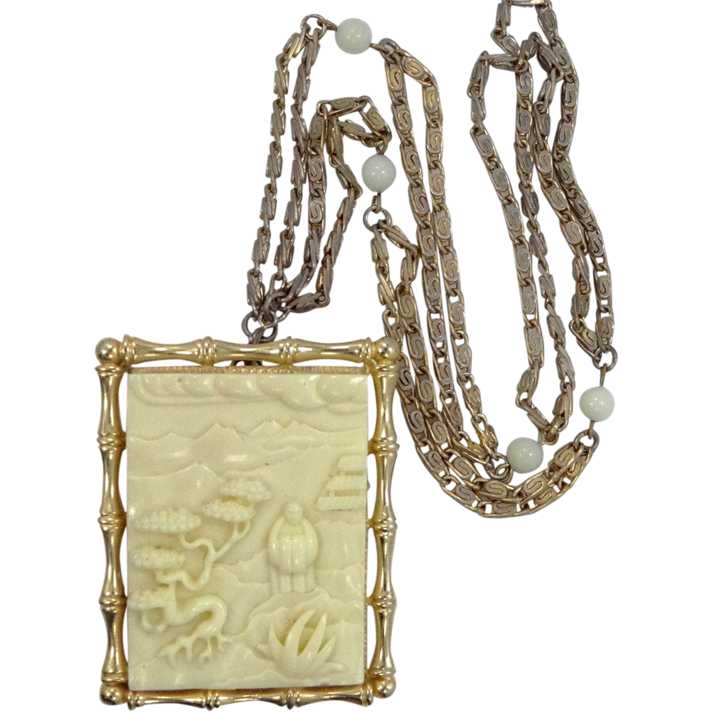 Hattie Carnegie Faux Ivory Pin / Pendant Necklace