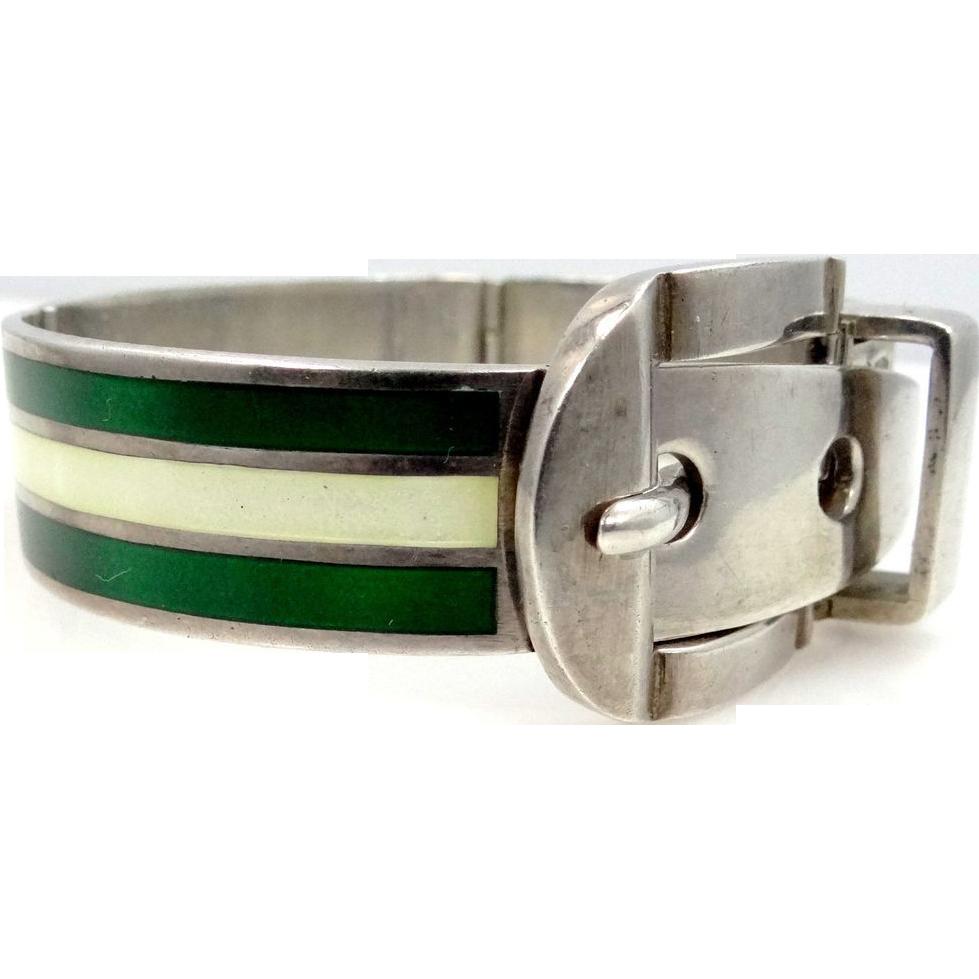 Heavy Sterling Silver & Enamel Hinged Buckle Bracelet Italy