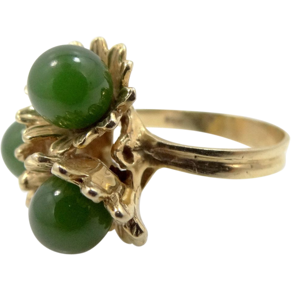 Heavy 14k Solid Gold Triple Green Jade Ring
