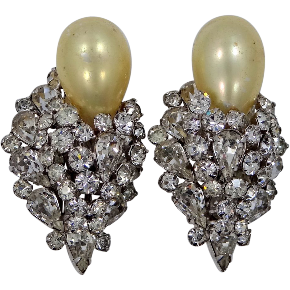 Large & Layered Mimi di N Rhinestone & Faux Pearl Earrings